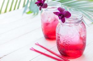 Erfrischungsgetränk, Burry-Saft mit Soda, entspannende Zeit foto