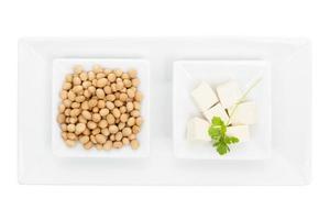 Sojabohnen und Tofu. foto