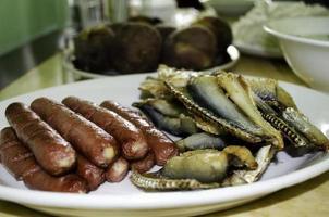 """Hotdog und getrockneter Fisch """"laing"""" foto"""
