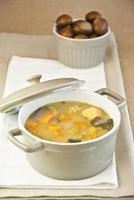 Kastaniensuppe, Karotten, Kürbis, Spinat, Kohl und Gemüse, vegetarisches Essen foto
