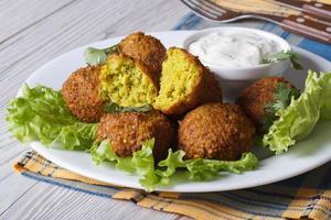 Falafel auf Salat mit Tzatziki-Sauce Nahaufnahme horizontal foto