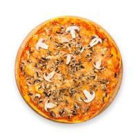 leckere Pizza mit Pilzen und geräuchertem Hähnchen foto