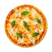 leckere Pizza mit Ananas und Hühnchen foto