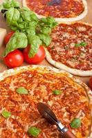 Gruppe von verschiedenen Pizzen foto
