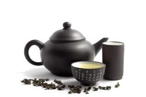 grüner Tee und Teekanne foto