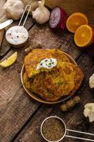 Blumenkohl-Curry-Pfannkuchen foto