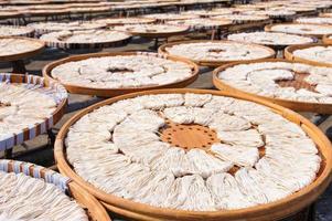 Trocknen von Fischnudeln foto