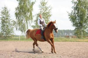 schöne junge blonde Frau, die Kastanienpferd reitet