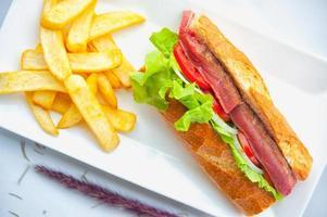 Rindersteak-Sandwich und Pommes Frites auf weißem Teller foto