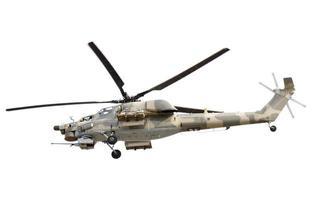 fliegender Militärhubschrauber auf weißem Hintergrund