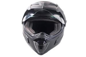 schwarzer Motorradhelm foto
