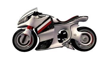 weißes Sportmotorrad foto