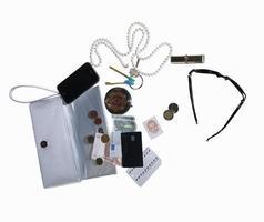 Geldbörse mit Handy, Geld, Schmuck foto