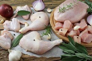 rohes Hühnchen geschnitten foto