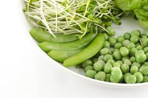 grünes Gemüse auf weißem Teller lokalisiertem Hintergrund foto