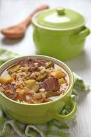 Suppe mit Gurken und Gerste foto
