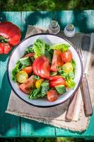 hausgemachter vegetarischer Salat vom Land foto