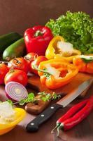 Hacken von gesundem Gemüse Pfeffer Tomatensalat Zwiebel Chili auf r