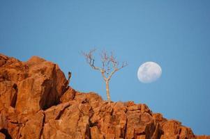 Mond über rotem Felsen foto