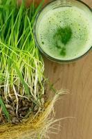 grüner Bio-Weizengrassaft trinkfertig foto