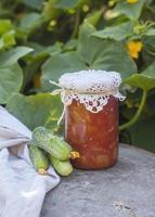 Konserven zu Hause, Glas mit eingelegtem Gemüse. foto