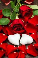 rote Rosen und zwei weiße Herzen. Valentinstag oder Hochzeit