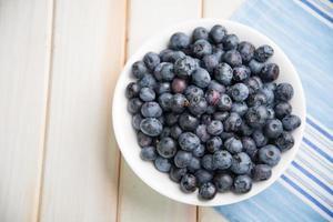 frische Blaubeeren ion weiße Platte auf Küchentisch