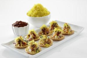 Sevpuri, Chat Essen, Indien foto