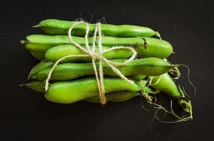 Schnurgebundene grüne Bohnen foto