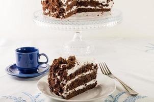 Schokoladenkrümelkuchen mit weißem Zuckerguss foto