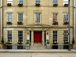 Stadtwohnhaus - rote Tür foto