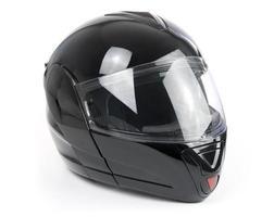 schwarzer, glänzender Motorradhelm foto