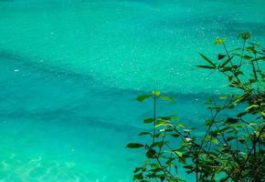 Jiuzhaigou glänzender See foto