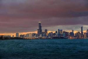 Chicago Skyline in der Abenddämmerung