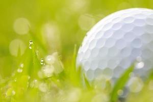 Nahaufnahme Golfball auf Gras mit Wassertropfen foto