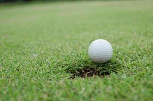 weißer Golfball auf grünem Gras foto