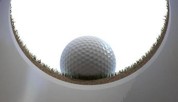 Golfball fast im Loch foto