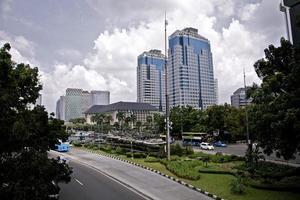 Wolkenkratzer Stadtarchitektur Stadtgeschäft Corporate Indonesien Jakarta Stadtzentrum foto