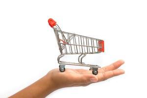 Nahaufnahme Frau Hände, die einen Einkaufswagen halten foto