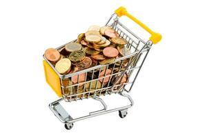 Einkaufswagen mit Münzen