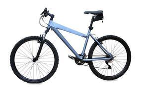 blaues Mountainbike lokalisiert über weißem Hintergrund foto