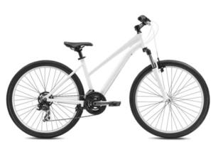 neues Fahrrad lokalisiert auf einem weißen Hintergrund foto