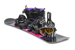 Snowboard mit Schuh, Handschuhen und Schutzbrille foto
