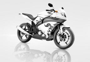 Motorrad Motorrad Fahrradfahrer zeitgenössische weiße Konzept