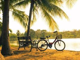 Fahrrad auf dem Gras mit Sonnenuntergang Hintergrund foto