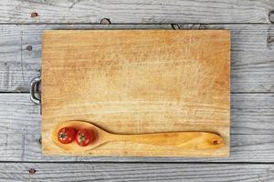 Löffel Tomaten Holz Hintergrund