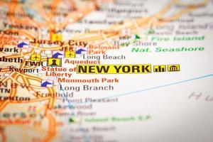 New York City auf einer Straßenkarte foto