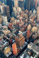 Luftaufnahme der Skyline von New York City, Manhattan foto