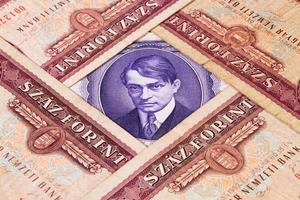 verschiedene ungarische Banknoten auf dem Tisch foto