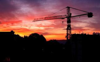 Kran in einem Sonnenuntergang